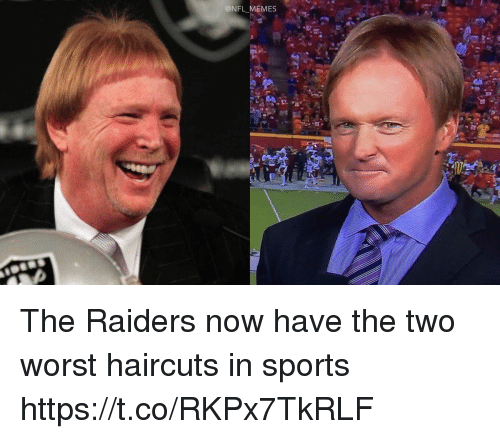 Memes, Nfl, and Sports: @NFL MEMES The Raiders now have the two worst haircuts in sports https://t.co/RKPx7TkRLF