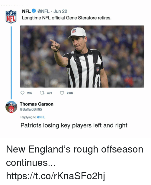 England, Football, and Nfl: NFL@NFL Jun 22  NFLLongtime NFL official Gene Steratore retires.  23 t 49 2.6K  Thomas Carson  @BuffaloBill95  64  Replying to @NFL  Patriots losing key players left and right New England's rough offseason continues... https://t.co/rKnaSFo2hj