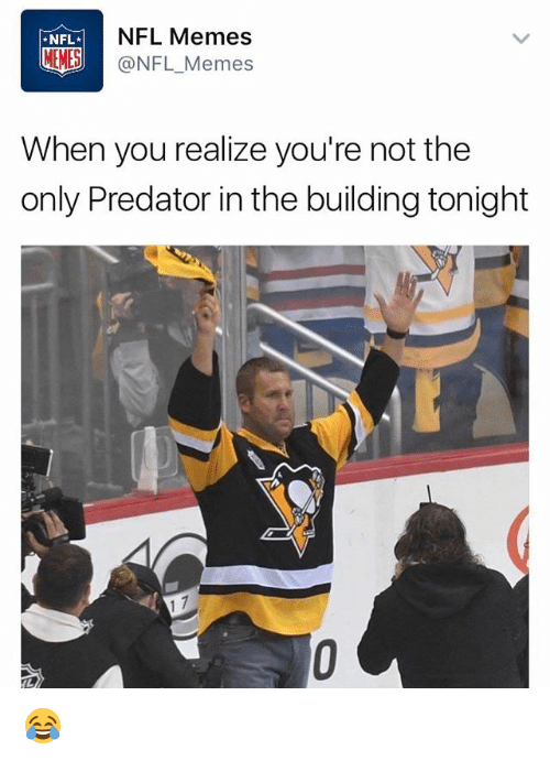Memes Nfl: NFL.  NFL Memes  MEMES  @NFL Memes  When you realize you're not the  only Predator in the building tonight 😂