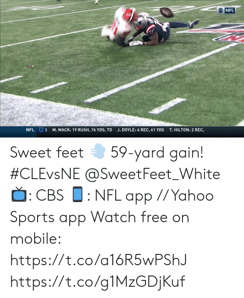 Hilton: NFL  NFL S  M. MACK: 19 RUSH, 76 YDS, TD  T.HILTON: 2 REC,  J. DOYLE: 4 REC, 61 YDS Sweet feet 💨  59-yard gain! #CLEvsNE @SweetFeet_White   📺: CBS 📱: NFL app // Yahoo Sports app Watch free on mobile: https://t.co/a16R5wPShJ https://t.co/g1MzGDjKuf