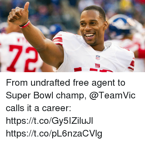 Memes, Nfl, and Super Bowl: NFL  nuj From undrafted free agent to Super Bowl champ, @TeamVic calls it a career: https://t.co/Gy5IZiluJl https://t.co/pL6nzaCVlg