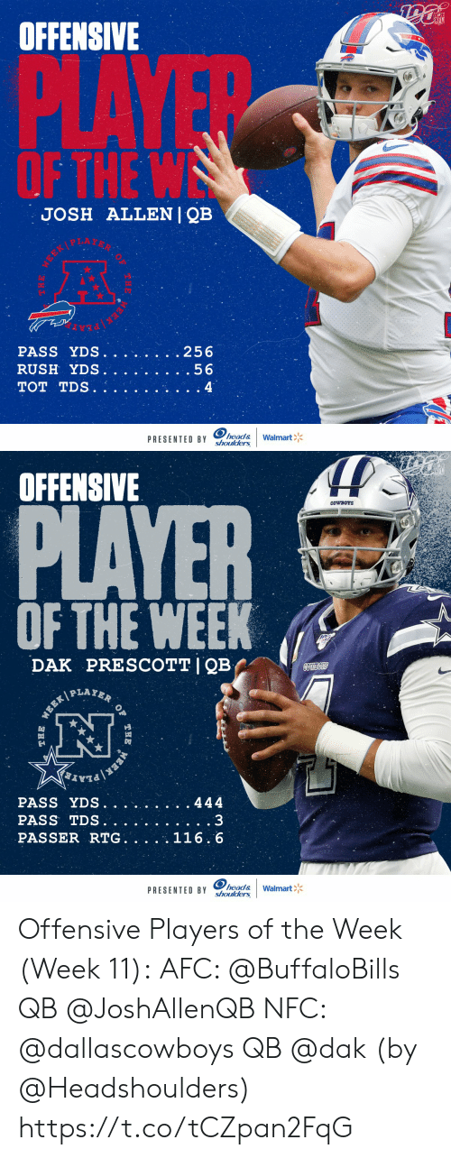 tds: NFL  OFFENSIVE  PLAYE  OF THE W  JOSH ALLENI QB  .256  PASS YDS.  RUSH YDS.  .56  TOT TDS.  4  head&  shoulders  Walmart  PRESENTED BY  THE  EEK   OFFENSIVE  PLAYER  CowBOYS  OF THE WEEK  PRESCOTT I QB  DAK  COWBOS  PLAYER  WEEK  PASS YDS.  444  PASS TDS.  PASSER RTG. .  116.6  head&  shoulders  PRESENTED BY  Walmart  OF  THE  ERK  THE Offensive Players of the Week (Week 11):  AFC: @BuffaloBills QB @JoshAllenQB  NFC: @dallascowboys QB @dak    (by @Headshoulders) https://t.co/tCZpan2FqG