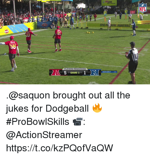 Dodgeball: NFL  OFPCIATING  EPIC Ph BONL DODGEBALL  PLAYERS REMAINING  SAQUON BARKLEY NYG  GAME 1 .@saquon brought out all the jukes for Dodgeball 🔥 #ProBowlSkills  📹: @ActionStreamer https://t.co/kzPQofVaQW