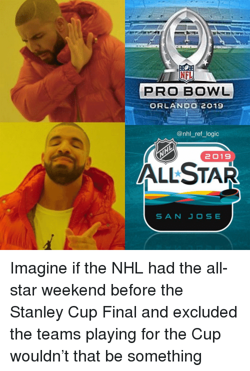 National Hockey League (NHL): NFL  PRO BOWL  ORLANDo 2019  @nhl_ref logic  2019  ALLSTAR Imagine if the NHL had the all-star weekend before the Stanley Cup Final and excluded the teams playing for the Cup wouldn't that be something