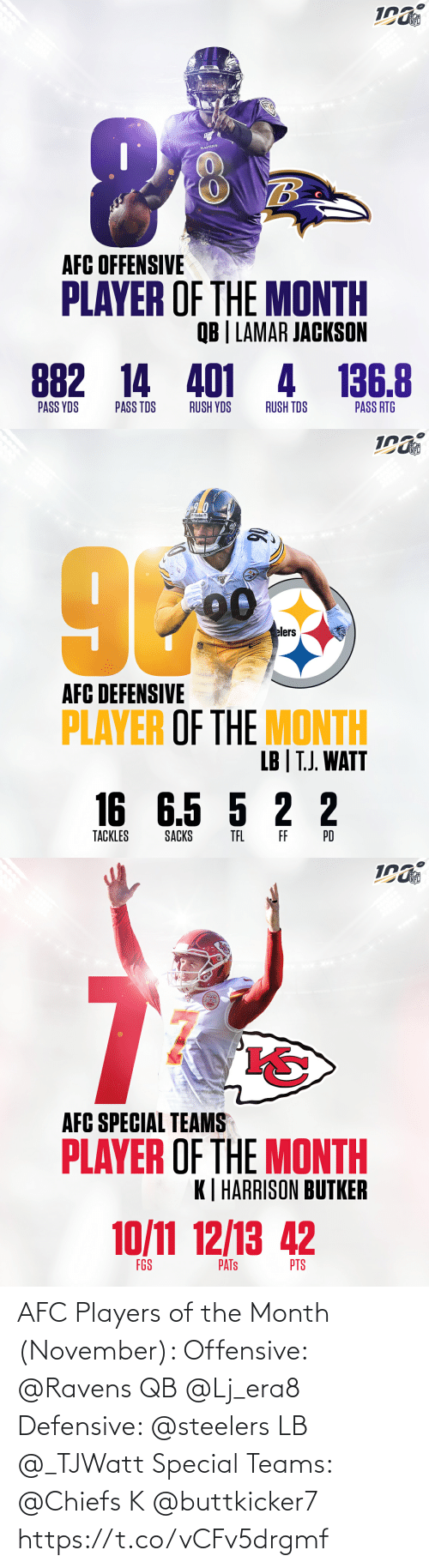lamar: NFL  RAVENS  AFC OFFENSIVE  PLAYER OF THE MONTH  QB | LAMAR JACKSON  882 14 401 4 136.8  PASS YDS  PASS TDS  RUSH YDS  RUSH TDS  PASS RTG   NFL  elers  AFC DEFENSIVE  PLAYER OF THE MONTH  LB | T.J. WATT  16 6.5 5 2 2  TACKLES  SACKS  TEL  FF  PD   NFL  AFC SPECIAL TEAMS  PLAYER OF THE MONTH  K| HARRISON BUTKER  10/11 12/13 42  FGS  PTS  PATS AFC Players of the Month (November):   Offensive: @Ravens QB @Lj_era8  Defensive: @steelers LB @_TJWatt  Special Teams: @Chiefs K @buttkicker7 https://t.co/vCFv5drgmf