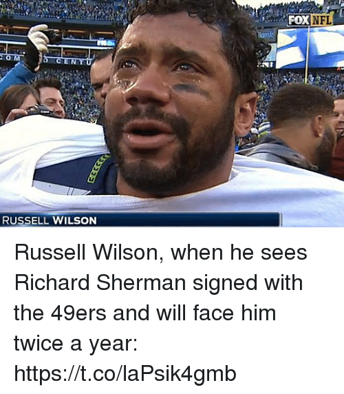 San Francisco 49ers, Nfl, and Richard Sherman: NFL  RUSSELL WILSON Russell Wilson, when he sees Richard Sherman signed with the 49ers and will face him twice a year: https://t.co/laPsik4gmb