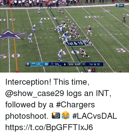 Memes, Nfl, and Chargers: NFL  st &10  28  (4-6)  (5-5) Interception! This time, @show_case29 logs an INT, followed by a #Chargers photoshoot. 📸😂  #LACvsDAL https://t.co/BpGFFTIxJ6