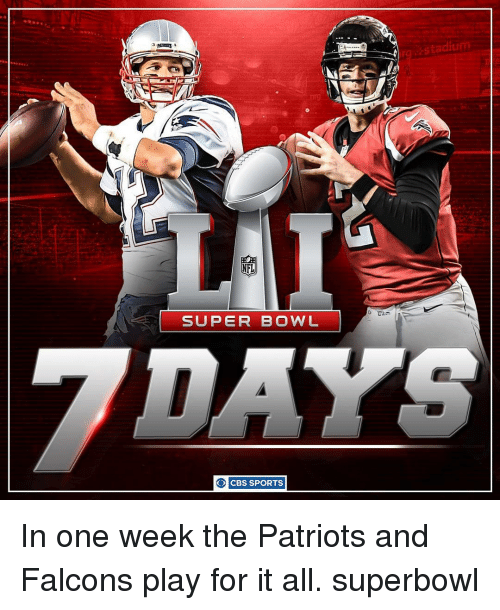 Memes, Super Bowl, and Cbs: NFL  SUPER BOWL  O CBS SPORTS  stadiu In one week the Patriots and Falcons play for it all. superbowl