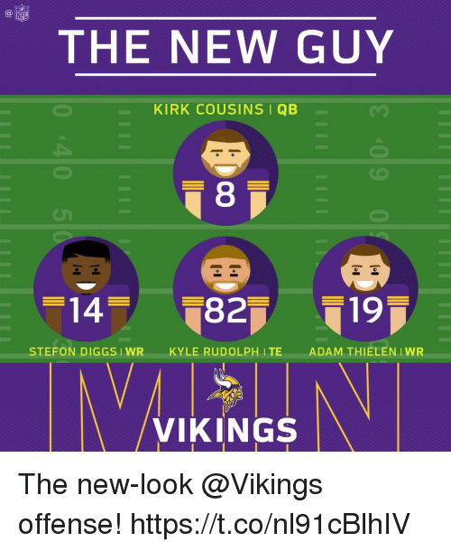 Kirk Cousins, Memes, and Nfl: NFL  THE NEW GUY  KIRK COUSINS I QB  8  STEFON DIGGSIWRKYLE RUDOLPH ITE  ADAM THIELEN IWR  /VIKINGS The new-look @Vikings offense! https://t.co/nl91cBlhIV
