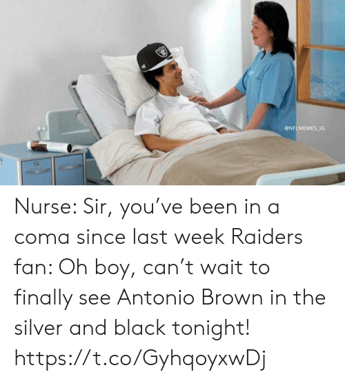 Nflmemes: @NFLMEMES_IG Nurse: Sir, you've been in a coma since last week  Raiders fan: Oh boy, can't wait to finally see Antonio Brown in the silver and black tonight! https://t.co/GyhqoyxwDj