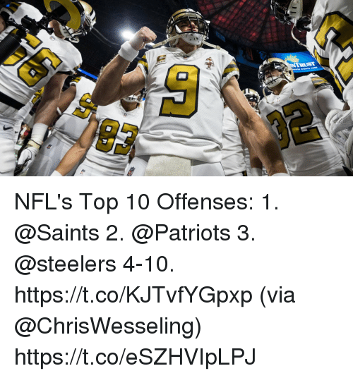 Memes, Patriotic, and New Orleans Saints: NFL's Top 10 Offenses:  1. @Saints 2. @Patriots 3. @steelers 4-10. https://t.co/KJTvfYGpxp (via @ChrisWesseling) https://t.co/eSZHVIpLPJ