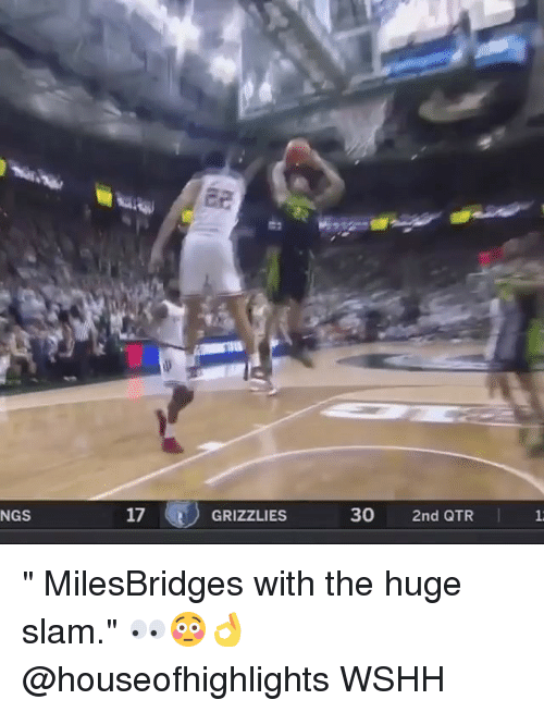 """Memphis Grizzlies, Memes, and Wshh: NGS  17  GRIZZLIES  30  2nd QTR """" MilesBridges with the huge slam."""" 👀😳👌 @houseofhighlights WSHH"""