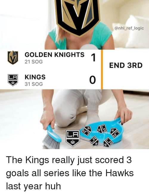 sog: @nhl_ref_logic  GOLDEN KNIGHTS 1  21 SOG  END 3RD  LF KINGS  31 SOG  0  LA The Kings really just scored 3 goals all series like the Hawks last year huh