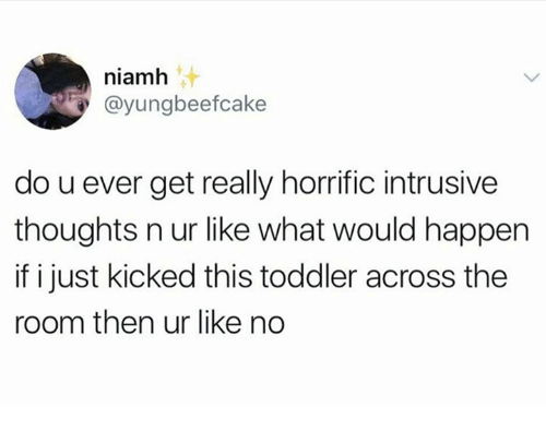 Humans of Tumblr, What, and This: niamh  @yungbeefcake  do u ever get really horrific intrusive  thoughts n ur like what would happen  if i just kicked this toddler across the  room then ur like no