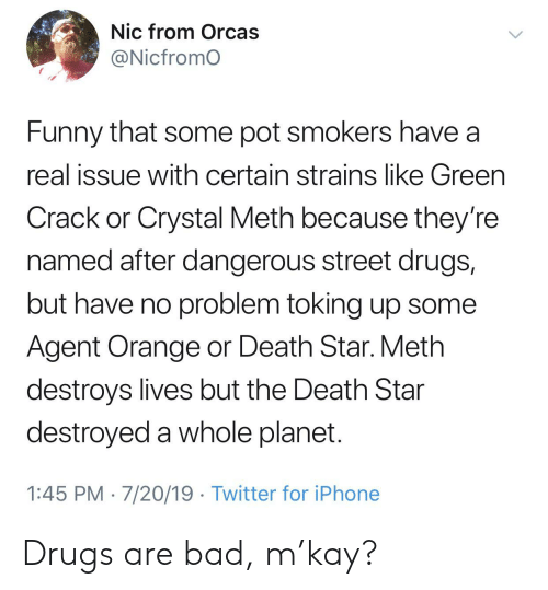agent orange: Nic from Orcas  @Nicfromo  Funny that some pot smokers have a  real issue with certain strains like Green  Crack or Crystal Meth because they're  named after dangerous street drugs,  but have no problem toking up some  Agent Orange or Death Star. Meth  destroys lives but the Death Star  destroyed a whole planet.  1:45 PM 7/20/19 Twitter for iPhone Drugs are bad, m'kay?