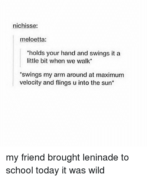 """Memes, School, and Today: nichisse:  meloetta:  """"holds your hand and swings it a  little bit when we walk  'swings my arm around at maximum  velocity and flings uinto the sun my friend brought leninade to school today it was wild"""