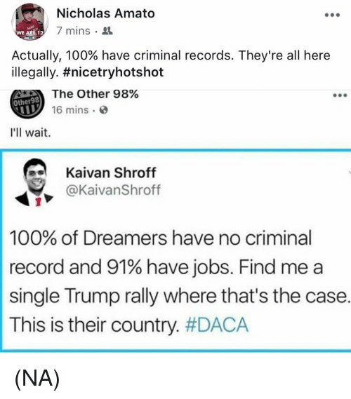 Naed: Nicholas Amato  7 mins .  WE ARE 12  Actually, 100% have criminal records. They're all here  illegally. #nicetryhotshot  The Other 98%  16 mins  Other98  I'll wait.  Kaivan Shroff  y @KaivanShroff  100% of Dreamers have no criminal  record and 91% have jobs. Find me a  single Trump rally where that's the case.  This is their country. (NA)