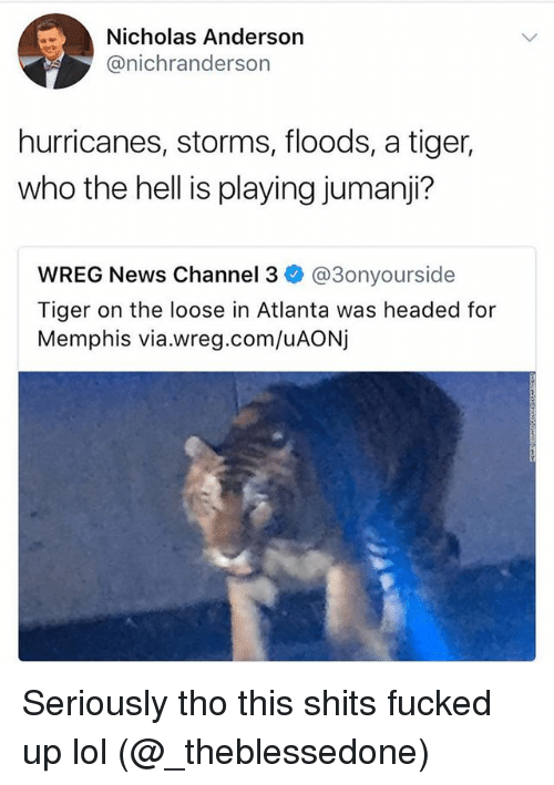 Funny, Lol, and News: Nicholas Anderson  @nichranderson  hurricanes, storms, floods, a tiger,  who the hell is playing jumanji?  WREG News Channel 3 @3onyourside  Tiger on the loose in Atlanta was headed for  Memphis via.wreg.com/uAONj Seriously tho this shits fucked up lol (@_theblessedone)