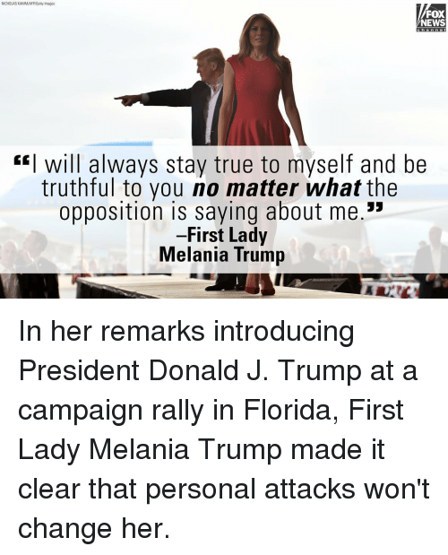 ... Trump at a campaign rally in Florida, First Lady Melania Trump made it