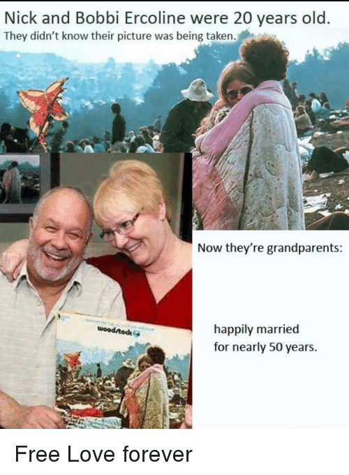 Love, Taken, and Forever: Nick and Bobbi Ercoline were 20 years old  They didn't know their picture was being taken.  Now they're grandparents  happily married  for nearly 50 years.  wood todk <p>Free Love forever</p>