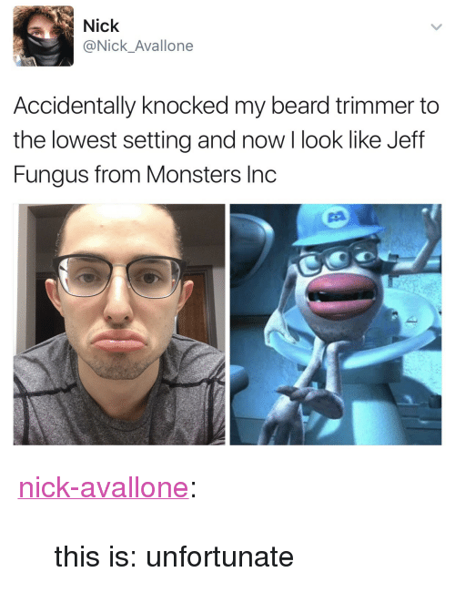 "trimmer: Nick  @Nick_Avallone  Accidentally knocked my beard trimmer to  the lowest setting and now I look like Jeff  Fungus from Monsters Inc <p><a href=""http://nick-avallone.tumblr.com/post/159092507452/this-is-unfortunate"" class=""tumblr_blog"" target=""_blank"">nick-avallone</a>:</p><blockquote><p>this is: unfortunate</p></blockquote>"
