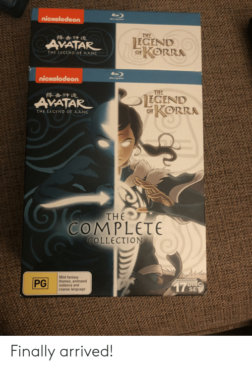 Fantasy Themes: nickelodeon  uray Dist  THE  降去神通  EGEND  AVATAR  r  KORRA  OF  THE LEGEND OF AANG  nickelodeon  Bluray Dist  THE  降去神通  EGEND  KORRA  AVATAR  THE LEGEND OF AANG  THE  COMPLETE  COLLECTION  Mild fantasy  themes, animated  violence and  coarse language  PG  DISC  SET  17 Finally arrived!
