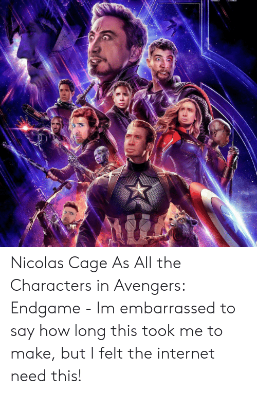 nicolas: Nicolas Cage As All the Characters in Avengers: Endgame - Im embarrassed to say how long this took me to make, but I felt the internet need this!