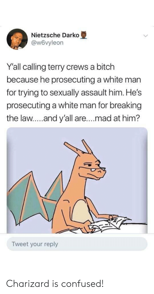 charizard: Nietzsche Darko  @w6vyleon  Y'all calling terry crews a bitch  because he prosecuting a white man  for trying to sexually assault him. He's  prosecuting a white man for breaking  the law....and y'all are.. .mad at him?  Tweet your reply Charizard is confused!
