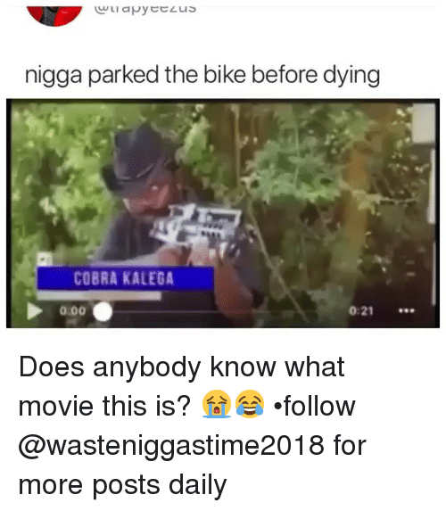 Memes, Movie, and Bike: nigga parked the bike before dying  COBRA KALEGA  0.00  0:21 Does anybody know what movie this is? 😭😂 •follow @wasteniggastime2018 for more posts daily