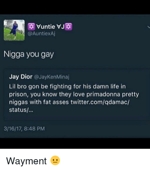 Jay, Life, and Love: Nigga you gay  Jay Dior  JayKen MMinaj  Lil bro gon be fighting for his damn life in  prison, you know they love primadonna pretty  niggas with fat asses twitter.com/qdamac/  status/...  3/16/17, 8:48 PM Wayment 😐