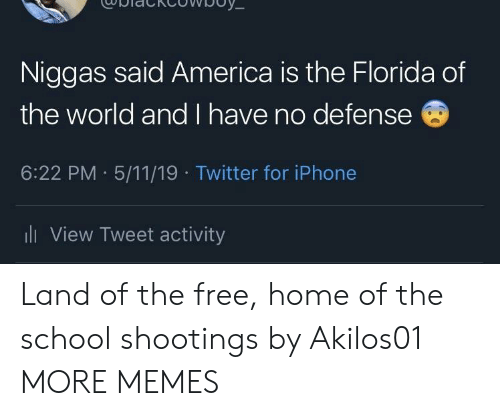 5 11: Niggas said America is the Florida of  the world and I have no defense  6:22 PM 5/11/19 Twitter for iPhone  ll View Tweet activity Land of the free, home of the school shootings by Akilos01 MORE MEMES