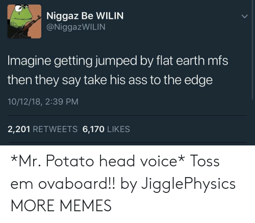 Potato Head: Niggaz Be WILIN  @NiggazWILIN  Imagine getting jumped by flat earth mfs  then they say take his ass to the edge  10/12/18, 2:39 PM  2,201 RETWEETS 6,170 LIKES *Mr. Potato head voice* Toss em ovaboard!! by JiggIePhysics MORE MEMES