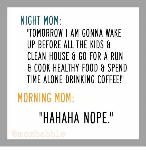 "Cleaning House: NIGHT MOM  TOMORROW I AM GONNA WAKE  UP BEFORE ALL THE KIDS  CLEAN HOUSE GO FOR A RUN  COOK HEALTHY FOOD & SPEND  TIME ALONE DRINKING COFFEE!  MORNING MOM  ""HAHAHA NOPE."""