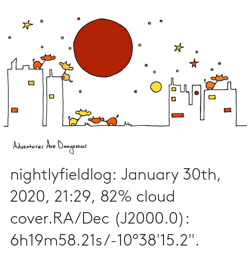"Cover: nightlyfieldlog:  January 30th, 2020, 21:29, 82% cloud cover.RA/Dec (J2000.0): 6h19m58.21s/-10°38'15.2""."