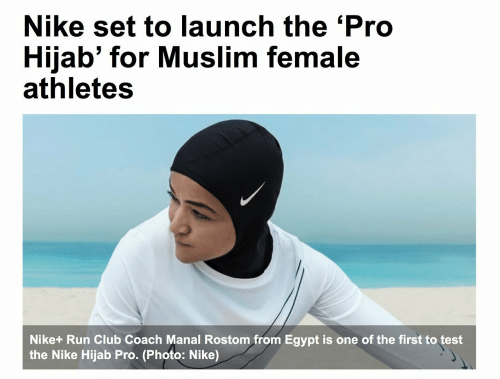 female athletes: Nike set to launch the 'Pro  Hijab' for Muslim female  athletes  Nike+ Run Club Coach Manal Rostom from Egypt is one of the first to test  the Nike Hijab Pro. (Photo: Nike)
