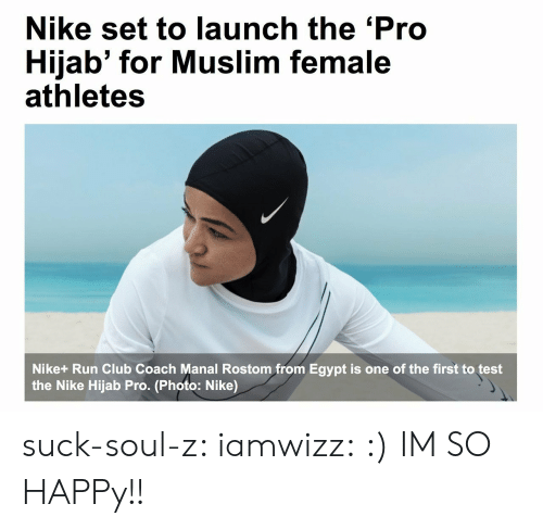 female athletes: Nike set to launch the 'Pro  Hijab' for Muslim female  athletes  Nike+ Run Club Coach Manal Rostom from Egypt is one of the first to test  the Nike Hijab Pro. (Photo: Nike) suck-soul-z:  iamwizz: :)  IM SO HAPPy!!
