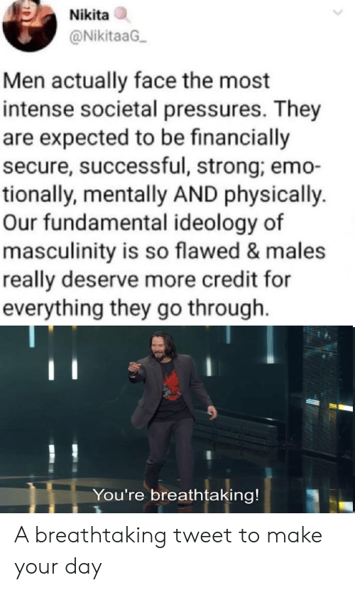 Ideology: Nikita  @NikitaaG  Men actually face the most  intense societal pressures. They  are expected to be financially  secure, successful, strong; emo-  tionally, mentally AND physically.  Our fundamental ideology of  masculinity is so flawed & males  really deserve more credit for  everything they go through.  You're breathtaking! A breathtaking tweet to make your day