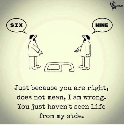 NINE SIX Just Because You Are Right Does Not Mean I Am ... I Am Right You Are Wrong