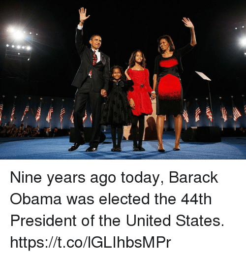 Funny, Obama, and Barack Obama: Nine years ago today, Barack Obama was elected the 44th President of the United States. https://t.co/lGLIhbsMPr