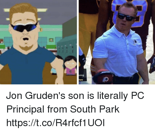 Football, Nfl, and South Park: ning  hew Jon Gruden's son is literally PC Principal from South Park https://t.co/R4rfcf1UOI