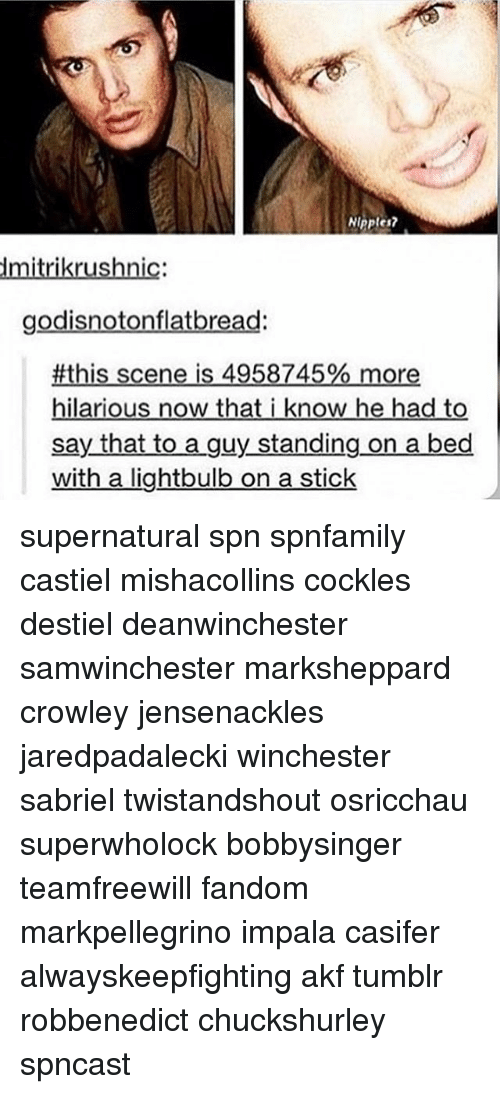 on a stick: Ninpler  dmitrikrushnic:  godisnotonflatbread:  #this scene is 4958745% more  hilarious now that i know he had to  say that to a guy standing on a bed  with a lightbulb on a stick supernatural spn spnfamily castiel mishacollins cockles destiel deanwinchester samwinchester marksheppard crowley jensenackles jaredpadalecki winchester sabriel twistandshout osricchau superwholock bobbysinger teamfreewill fandom markpellegrino impala casifer alwayskeepfighting akf tumblr robbenedict chuckshurley spncast