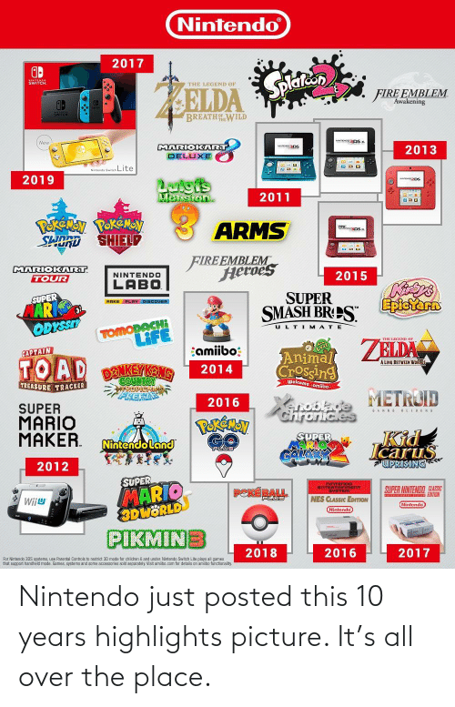 functionality: Nintendo  2017  SWITCH  Splatcon  THE LEGEND OF  FIRE EMBLEM  Awakening  BREATH WILD  eNTENOg3DS x.  New  MARIOKIART  2013  DELUXE  Nintendo Switch Lite  2019  Latgis  Mansion.  2011  Pekeny PokÉMOy  SORD SHIELD  ARMS  FIREEMBLEM  Saosatf  2015  SUPER  MARIOKART  TOUR  NINTENDO  LABO  SUPER  MAR  ODYSSEY  Epicrarn  MAKE PLAY DISCOUER  SMASH BRPS.  TOMODACH  LIFE  ULTIMATE  THE LEGEND or  ZELDA  amiibo:  CAPTAIN  Animal  Crossing  TOAD  A LINK BETWEEN WORLOS  DENKEYKANG  2014  COUNTRY  SPICALA  PREEZ  Welcome amiibo:  TREASURE TRACKER  METROID  2016  SUPER  MARIO  MAKER.  SAHUS RELURKS  ChronicleS  PERÉMAN  JKid  SUPER  GALA  Nintendoland  Icarus  UPRISING  PLUS  2012  SUPER  MARIO  8DWÖRLD  NINTENDO  ENTERTAINMENT  SVSTEM  SUPER NINTENDO CLASSIC  PEKÉRAL  PLUS  NES CLASSIC EDITION  WijU  Nintendo  Nintendo  PIKMINE  2018  2016  2017  For Nintendo 3DS systems, use Parental Controls to restrict 3D mode for children 6 and under. Nintendo Switch Lite plays all games  that support handheld mode. Games, systems and some accessories sold separately. Visit amibo.com for details on amibo functionality. Nintendo just posted this 10 years highlights picture. It's all over the place.