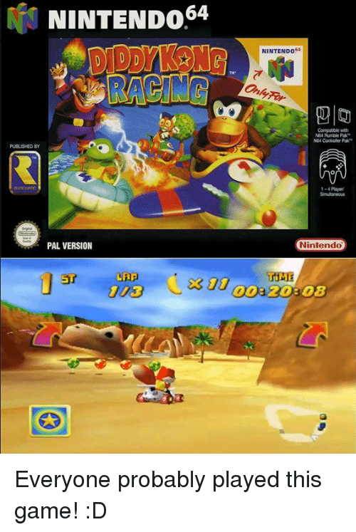nintendo 64: NINTENDO  64  PAL VERSION  ST  NINTENDO  Compatible with  Rumble Pak  N64 Controller Pak  1-4 Payed  Nintendo  TIME Everyone probably played this game! :D
