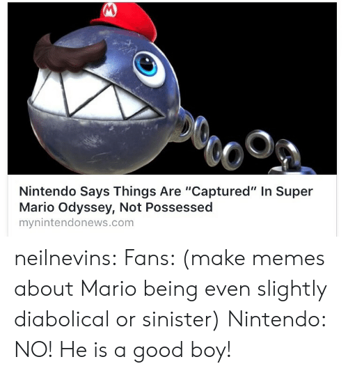 """Mario Odyssey: Nintendo Says Things Are """"Captured"""" In Super  Mario Odyssey, Not Possessed  mynintendonews.com neilnevins:  Fans: (make memes about Mario being even slightly diabolical or sinister)  Nintendo: NO! He is a good boy!"""