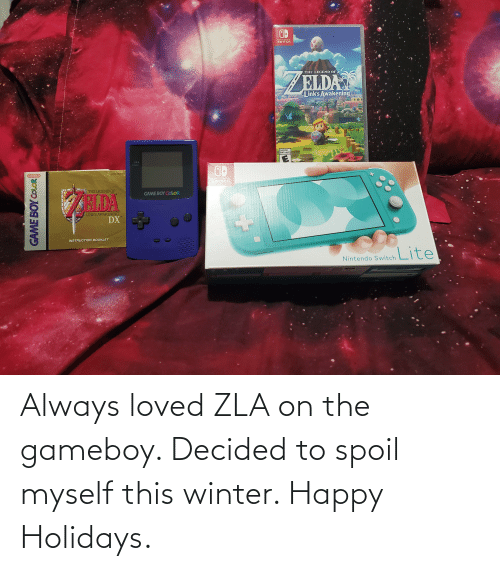 game boy color: NINTENDO  SWITCH.  THE LEGEND OF  ELDA  Link's Awakening  EVERYONE  ENFANTS et ADULTES  FOWER  UDMO-AZLE-USA  Nintendo  NINTENDO  SWITCH  THE LEGEND OF  GAME BOY COLOR  HIDA  LINK'S AWAKENING  DX  INSTRUCTION BOOKLET  Nintendo Switch ite  GAME BOY COLOR Always loved ZLA on the gameboy. Decided to spoil myself this winter. Happy Holidays.