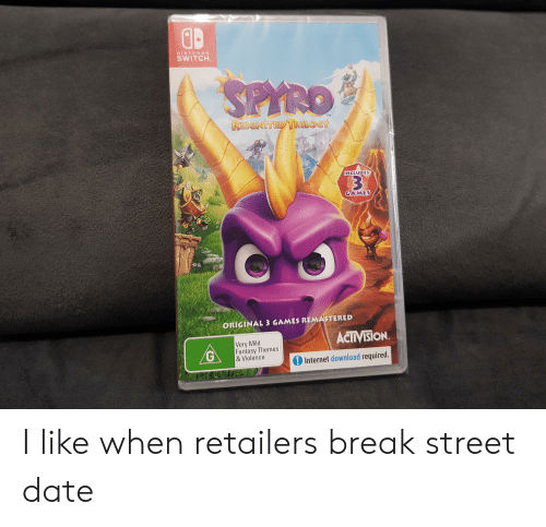 Fantasy Themes: NINTENDO  SWITCH  TM  REIGNITED TRILOGY  INCLUDES  3  GAMES  ORIGINAL 3 GAMES REMASTERED  ACTIVISION  Very Mild  Fantasy Themes  &Violence  Internet download required.  CG I like when retailers break street date