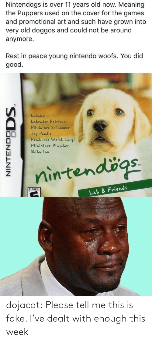 The Games: Nintendogs is over 11 years old now. Meaning  the Puppers used on the cover for the games  and promotional art and such have grown into  very old doggos and could not be around  anymore.  Rest in peace young nintendo woofs. You did  good.  Includes:  Labrador Retriever  Miniature SchnAuzer  Toy Poodle  Pembroke Welsh Corgi  Miniature Pinscher  Skiba Inu  nintendögs.  EVERYONE  Lab & Friends  NINTENDO  DODS. dojacat:  Please tell me this is fake. I've dealt with enough this week