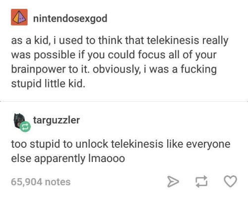 stupider: nintendosexgod  as a kid, i used to think that telekinesis really  was possible if you could focus all of your  brainpower to it. obviously, i was a fucking  stupid little kid.  targuzzler  too stupid to unlock telekinesis like everyone  else apparently Imao00  65,904 notes