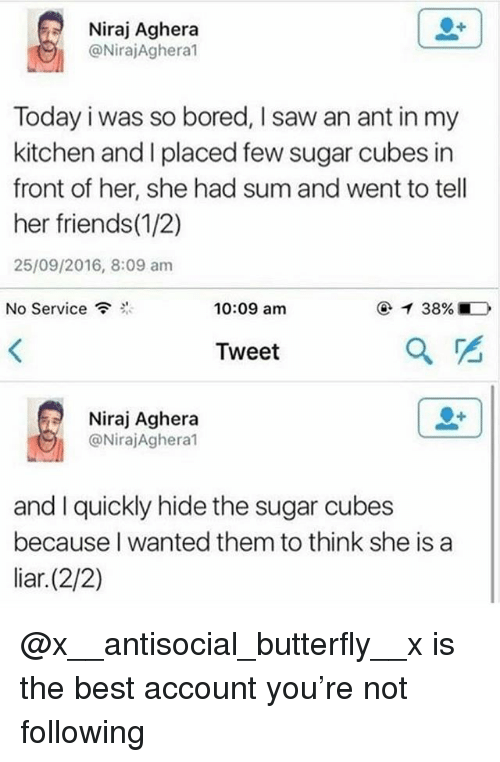 Bored, Friends, and Saw: Niraj Aghera  @NirajAghera  Today i was so bored, I saw an ant in my  kitchen and I placed few sugar cubes in  front of her, she had sum and went to tell  her friends(1/2)  25/09/2016, 8:09 am  No Service  10:09 am  Tweet  2  Niraj Aghera  @NirajAghera1  and I quickly hide the sugar cubes  because I wanted them to think she is a  liar.(2/2) @x__antisocial_butterfly__x is the best account you're not following