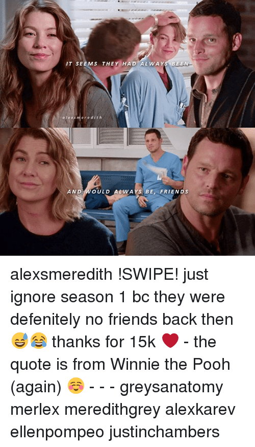 Friends, Memes, and Winnie the Pooh: NIT SEEMS THE  HAD AL WAY  BEEN  a lex s m er e dit h  AND OULD ALWAYS BE, FRIENDS alexsmeredith !SWIPE! just ignore season 1 bc they were defenitely no friends back then 😅😂 thanks for 15k ❤️ - the quote is from Winnie the Pooh (again) ☺️ - - - greysanatomy merlex meredithgrey alexkarev ellenpompeo justinchambers